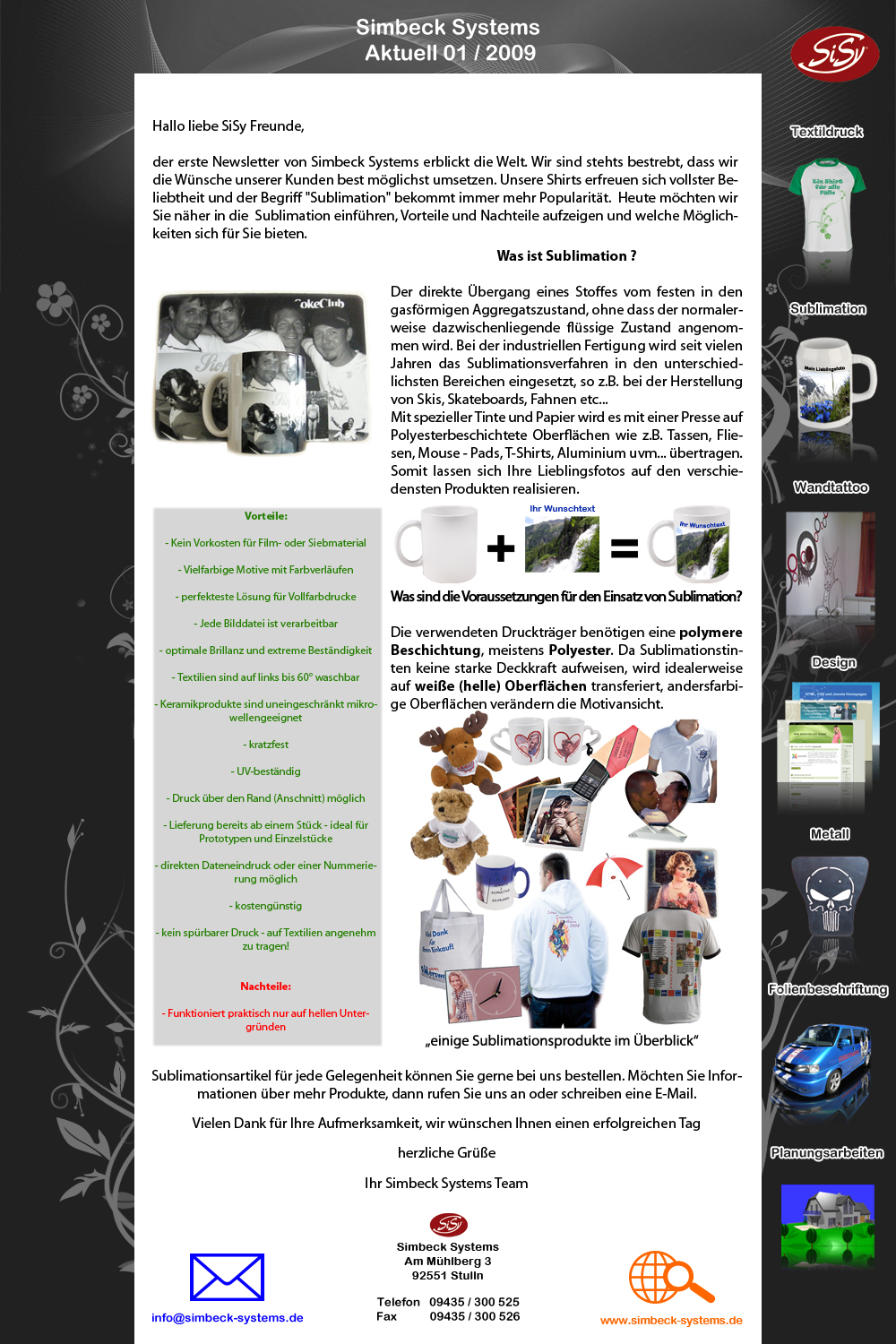 Simbeck Systems Newsletter 01 2009 Sublimation
